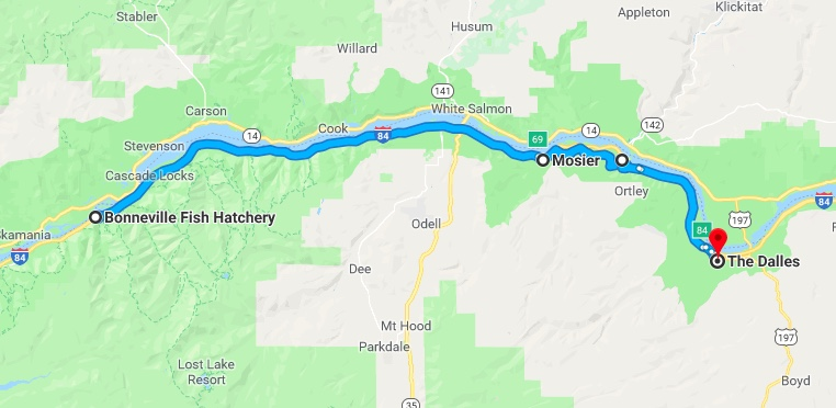 map to the Dalles
